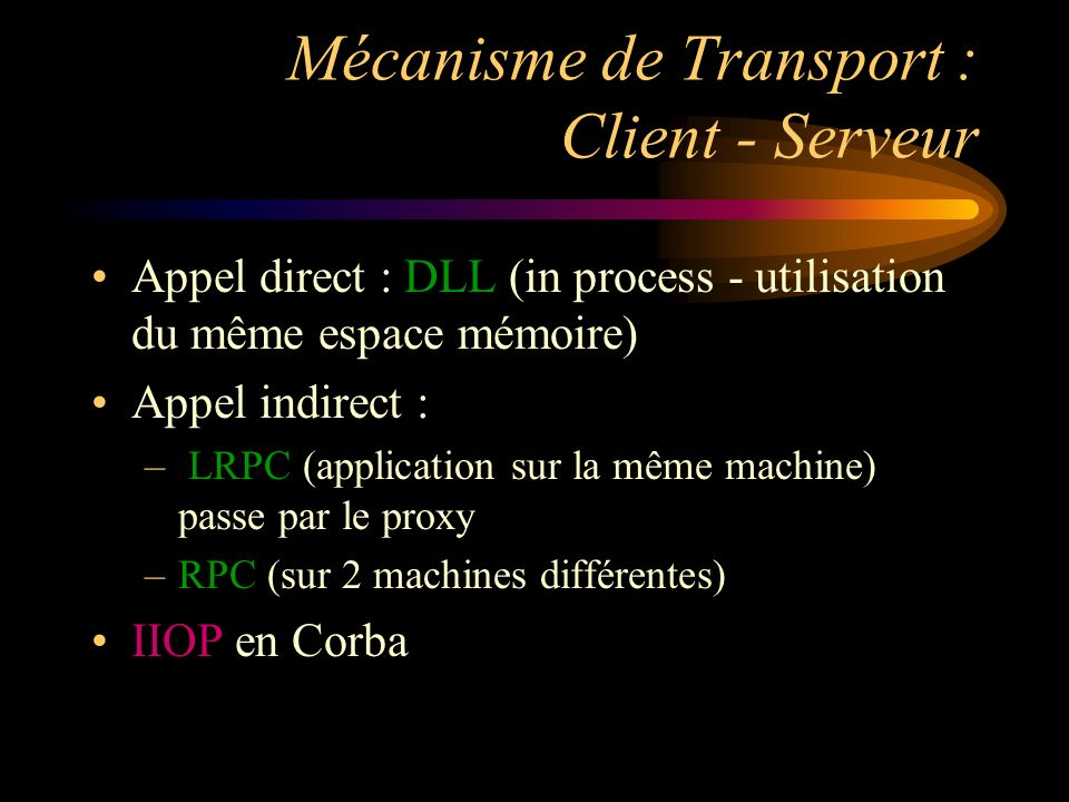 Mécanisme de Transport : Client - Serveur Appel direct : DLL (in process - utilisation du même espace mémoire) Appel indirect : – LRPC (application sur la même machine) passe par le proxy –RPC (sur 2 machines différentes) IIOP en Corba