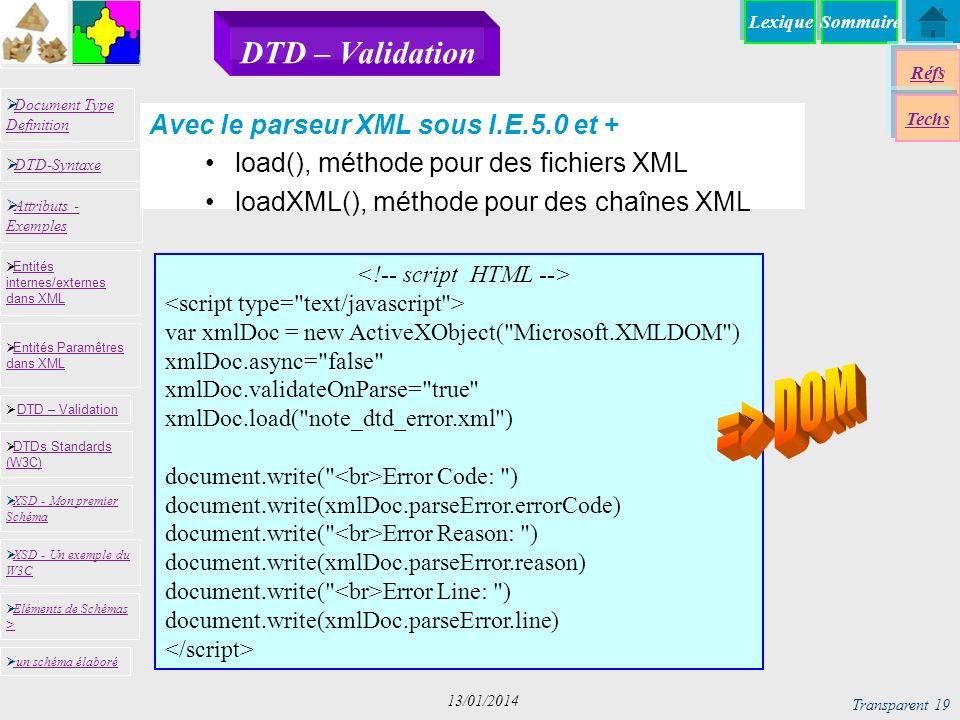 SommaireLexique Réfs Techs Document Type Definition Document Type Definition DTD-Syntaxe DTD – Validation DTD – Validation XSD - Mon premier Schéma XSD - Mon premier Schéma Entités internes/externes dans XML Entités internes/externes dans XML Entités Paramêtres dans XML Entités Paramêtres dans XML XSD - Un exemple du W3C XSD - Un exemple du W3C Eléments de Schémas > Eléments de Schémas > Attributs - Exemples Attributs - Exemples DTDs Standards (W3C) DTDs Standards (W3C) un schéma élaboré Transparent 19 13/01/2014 DTD – Validation var xmlDoc = new ActiveXObject( Microsoft.XMLDOM ) xmlDoc.async= false xmlDoc.validateOnParse= true xmlDoc.load( note_dtd_error.xml ) document.write( Error Code: ) document.write(xmlDoc.parseError.errorCode) document.write( Error Reason: ) document.write(xmlDoc.parseError.reason) document.write( Error Line: ) document.write(xmlDoc.parseError.line) Avec le parseur XML sous I.E.5.0 et + load(), méthode pour des fichiers XML loadXML(), méthode pour des chaînes XML