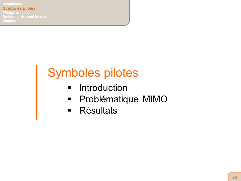 20 Symboles pilotes Introduction Problématique MIMO Résultats Introduction Symboles pilotes Filtrage temporel Estimation de canal itérative Conclusion