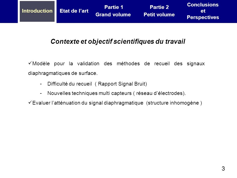 3 IntroductionEtat de lart Partie 1 Grand volume Partie 2 Petit volume Conclusions et Perspectives Contexte et objectif scientifiques du travail Modèle pour la validation des méthodes de recueil des signaux diaphragmatiques de surface.