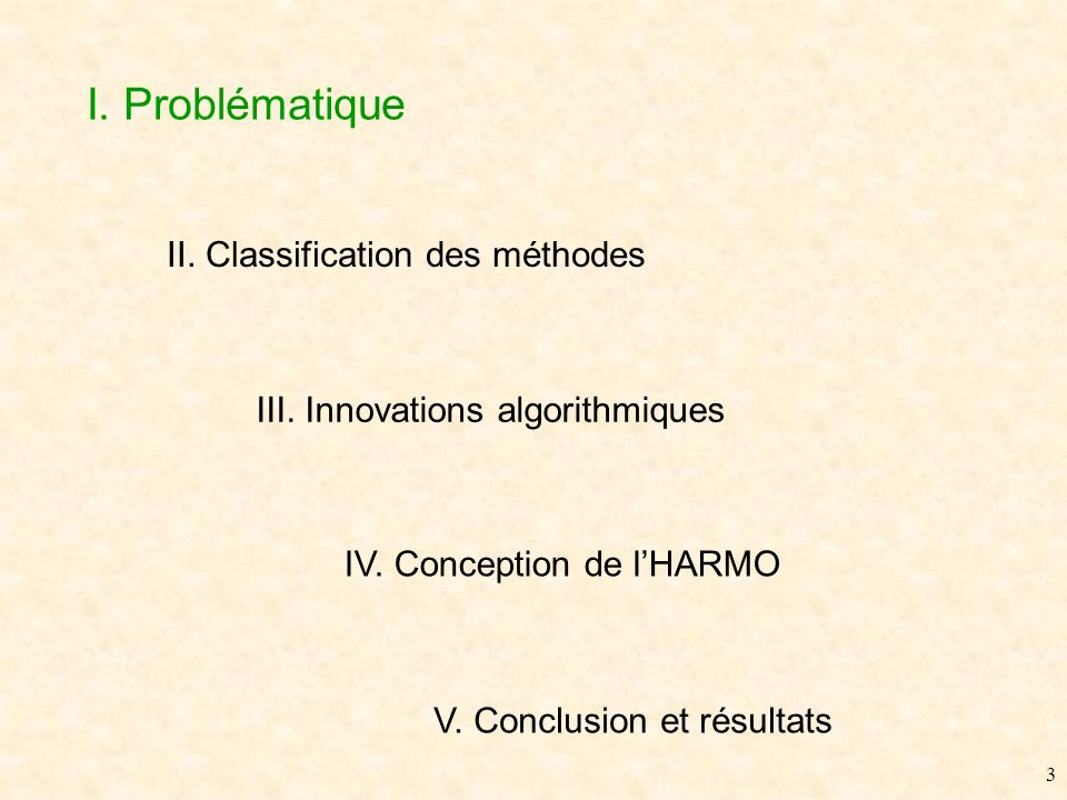 2 II. Classification des méthodes III. Innovations algorithmiques IV.