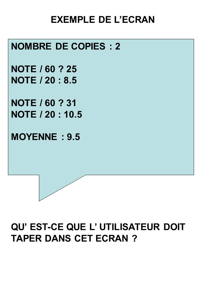 NOMBRE DE COPIES : 2 NOTE / NOTE / 20 : 8.5 NOTE / 60 .