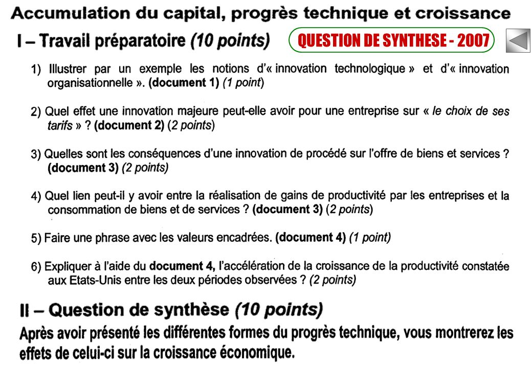 QUESTION DE SYNTHESE - 2007
