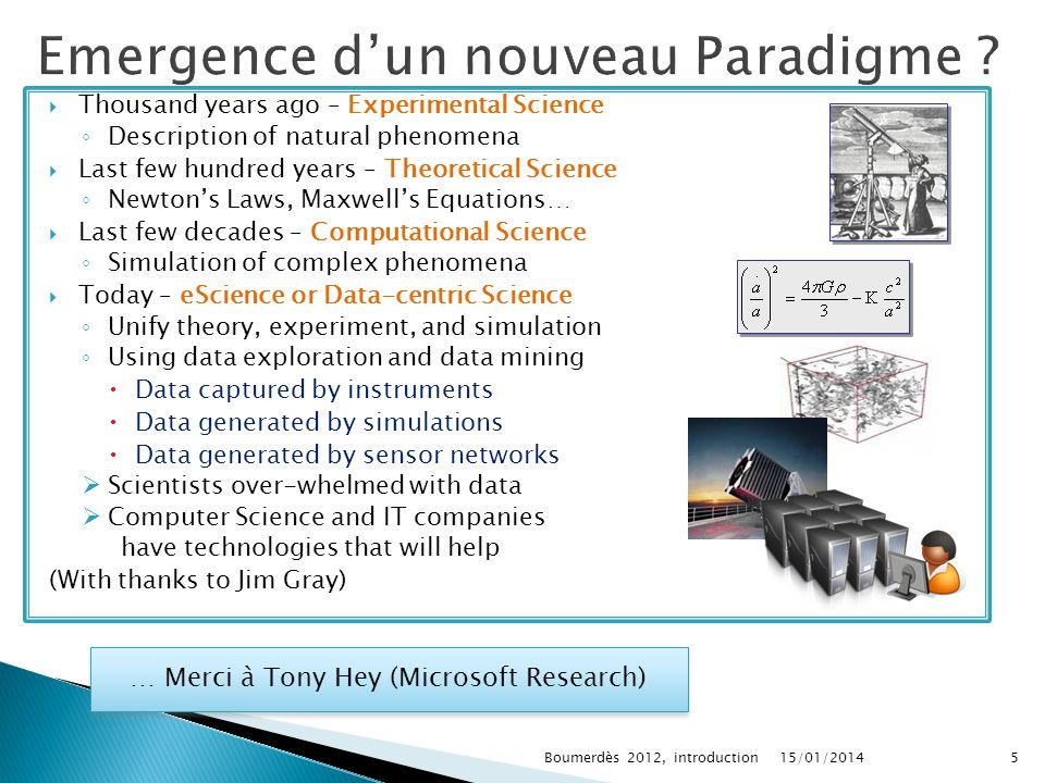 Thousand years ago – Experimental Science Description of natural phenomena Last few hundred years – Theoretical Science Newtons Laws, Maxwells Equations… Last few decades – Computational Science Simulation of complex phenomena Today – eScience or Data-centric Science Unify theory, experiment, and simulation Using data exploration and data mining Data captured by instruments Data generated by simulations Data generated by sensor networks Scientists over-whelmed with data Computer Science and IT companies have technologies that will help (With thanks to Jim Gray) 15/01/20145Boumerdès 2012, introduction … Merci à Tony Hey (Microsoft Research)