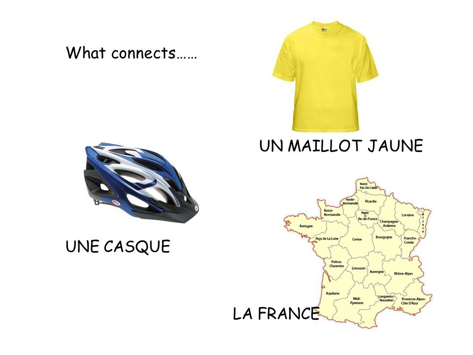 What connects…… UN MAILLOT JAUNE UNE CASQUE LA FRANCE