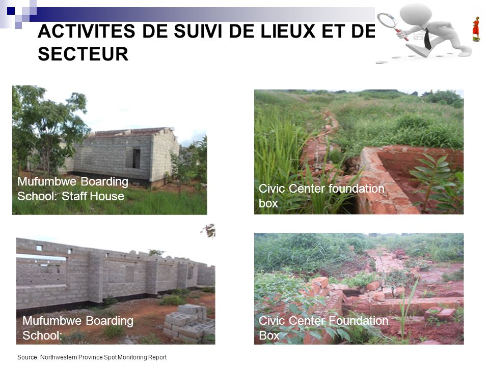 ACTIVITES DE SUIVI DE LIEUX ET DE SECTEUR Mufumbwe Boarding School: Staff House Mufumbwe Boarding School: Administration Block Source: Northwestern Province Spot Monitoring Report Civic Center Foundation Box Civic Center foundation box