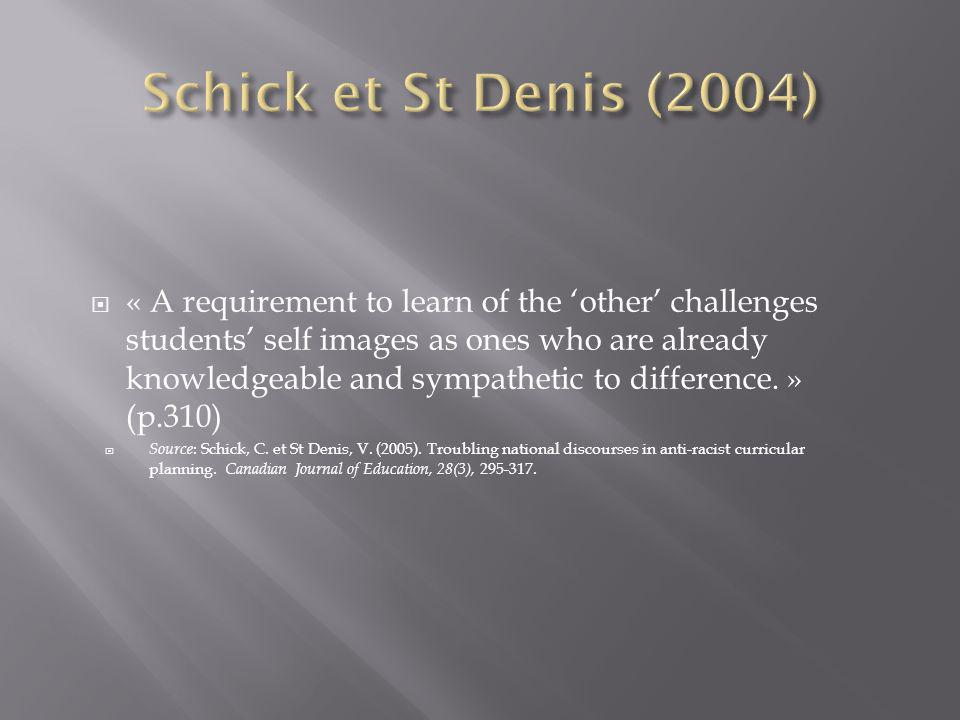 « A requirement to learn of the other challenges students self images as ones who are already knowledgeable and sympathetic to difference.