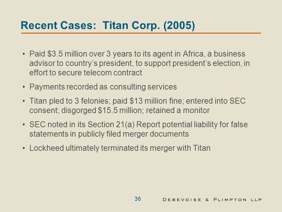 35 Recent Cases: AIG (2005) Managing Director of AIG Global Investment Corp.