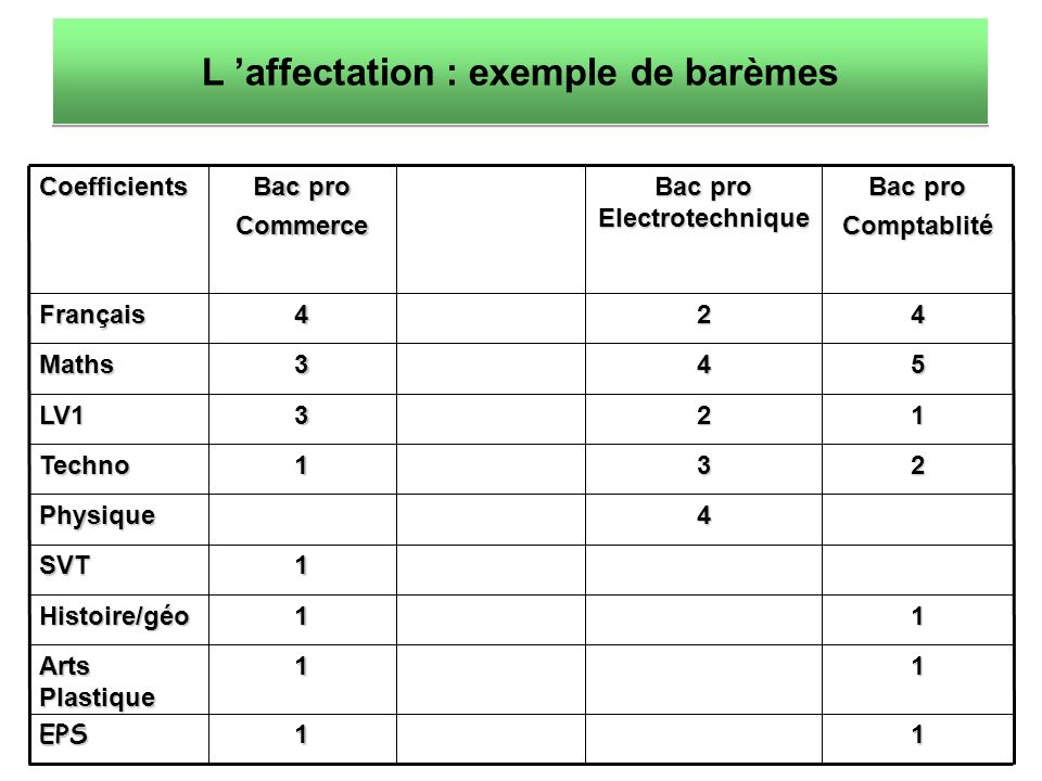 Coefficients Bac pro Commerce Bac pro Electrotechnique Bac pro ComptablitéFrançais424 Maths345 LV1321 Techno132 Physique4 SVT1 Histoire/géo11 Arts Plastique 11 EPS11 L affectation : exemple de barèmes