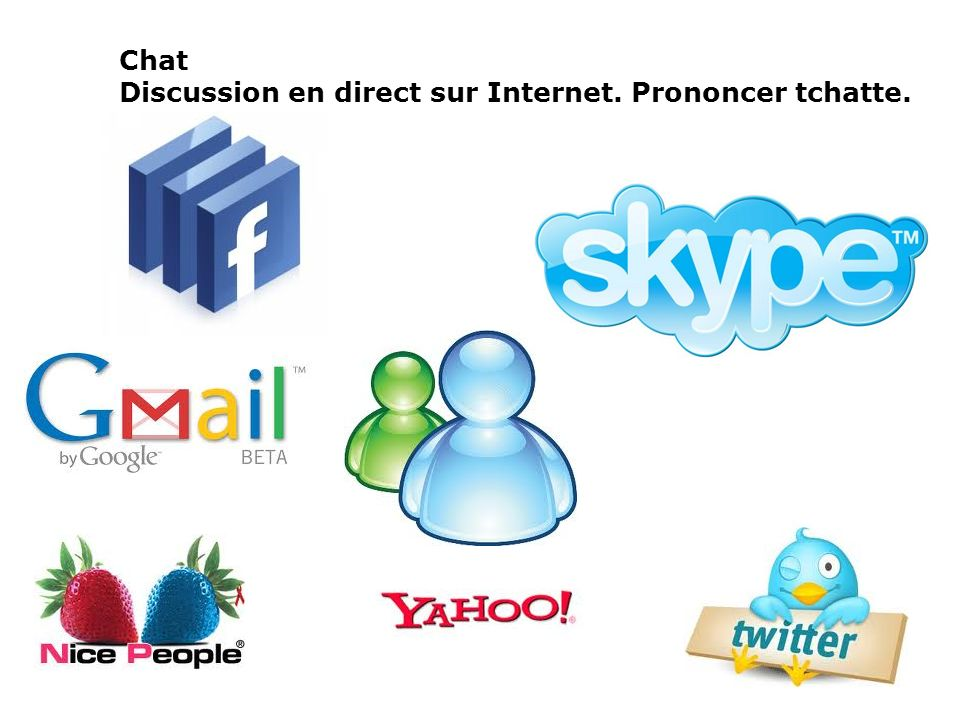 Chat Discussion en direct sur Internet. Prononcer tchatte.