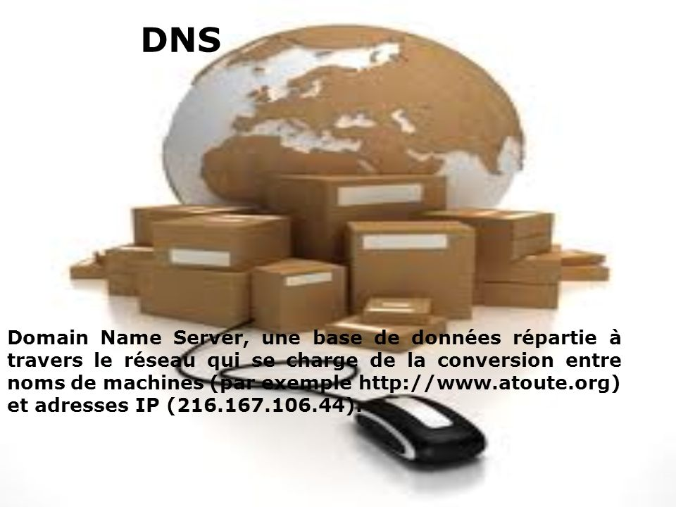 DNS Domain Name Server, une base de données répartie à travers le réseau qui se charge de la conversion entre noms de machines (par exemple http://www.atoute.org) et adresses IP (216.167.106.44).