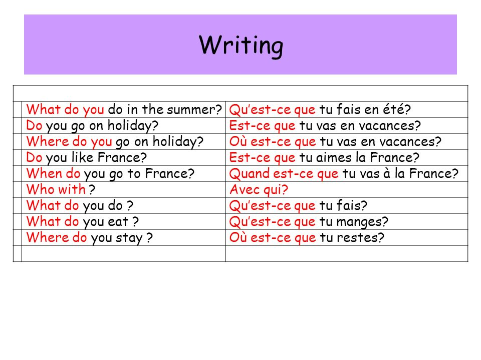 Writing What do you do in the summer Quest-ce que tu fais en été.