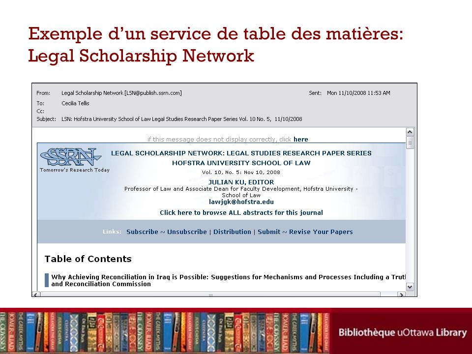 Exemple dun service de table des matières: Legal Scholarship Network