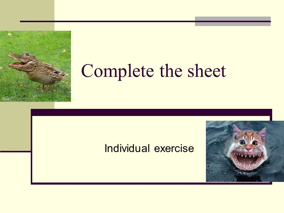 Complete the sheet Individual exercise