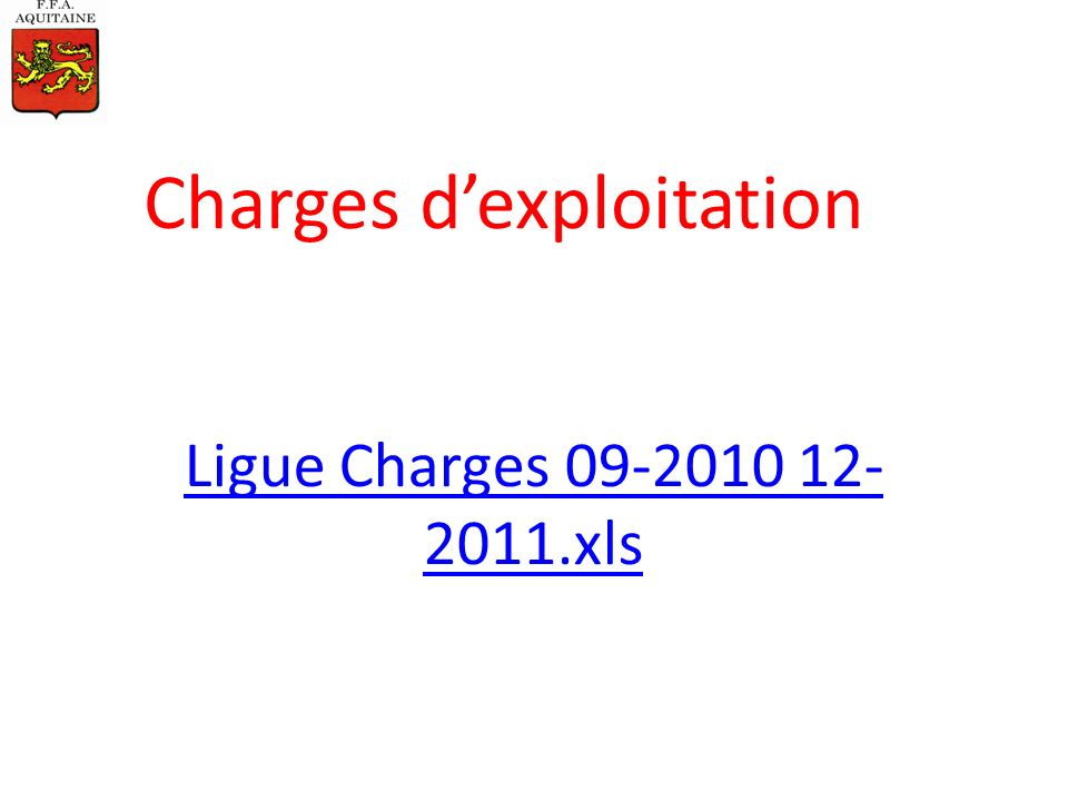 Ligue Charges 09-2010 12- 2011.xls Charges dexploitation