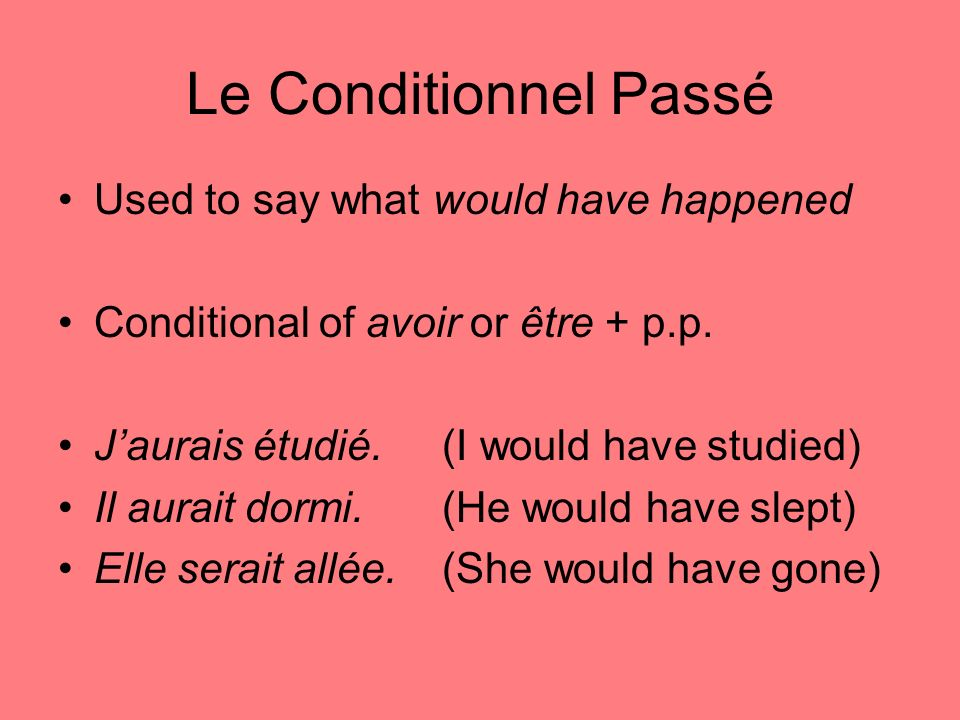 Le Conditionnel Passé Used to say what would have happened Conditional of avoir or être + p.p.