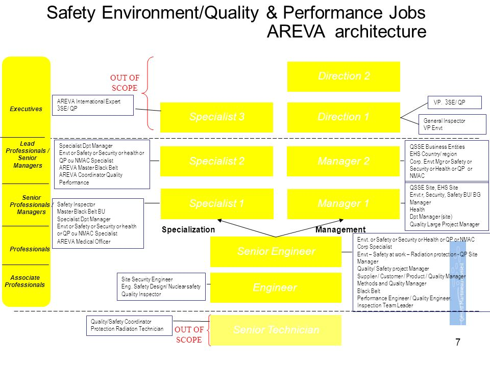 Safety Environment/Quality & Performance Jobs AREVA architecture Engineer Senior Technician Senior Engineer Manager 1 Manager 2 Specialist 1 Specialist 2 Direction 1 Direction 2 Specialist 3 ManagementSpecialization OUT OF SCOPE OUT OF SCOPE Lead Professionals / Senior Managers Senior Professionals / Managers Professionals Associate Professionals Executives Safety Inspector Master Black Belt BU Specialist Dpt Manager Envt or Safety or Security or health or QP ou NMAC Specialist AREVA Medical Officer Site Security Engineer Eng.