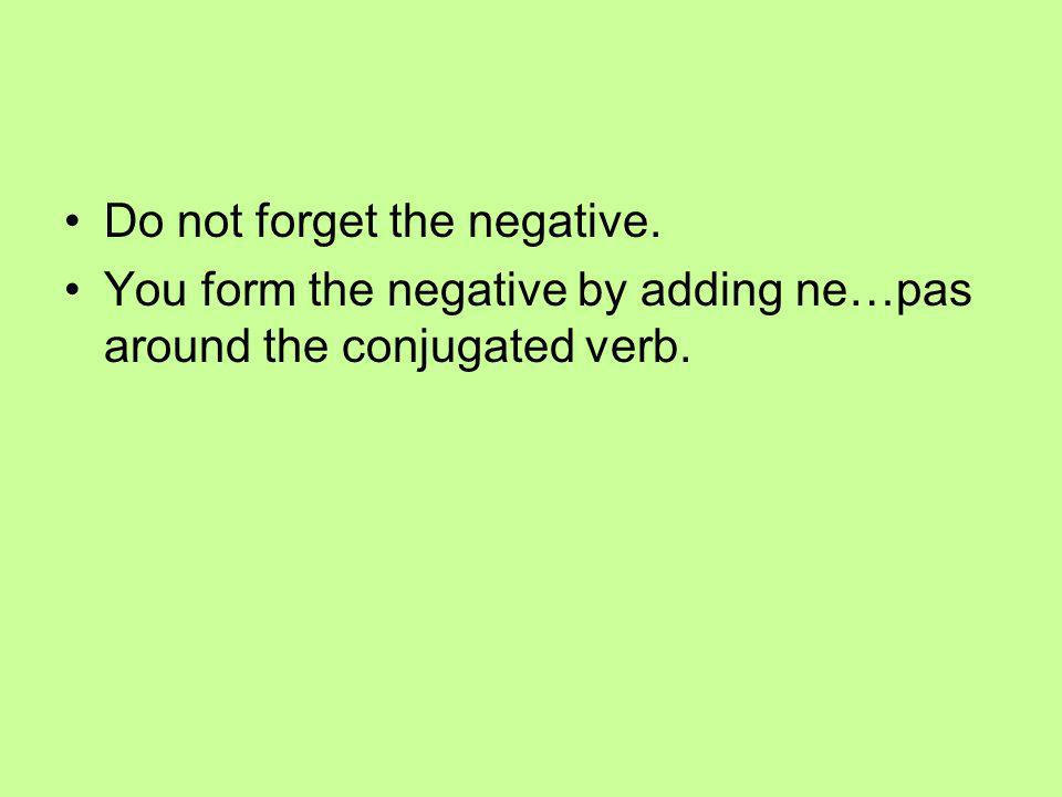 Do not forget the negative. You form the negative by adding ne…pas around the conjugated verb.
