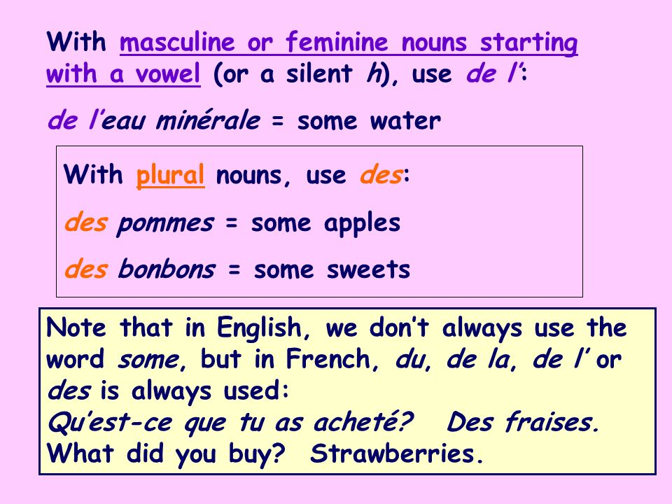 With masculine or feminine nouns starting with a vowel (or a silent h), use de l: de leau minérale = some water Note that in English, we dont always use the word some, but in French, du, de la, de l or des is always used: Quest-ce que tu as acheté.
