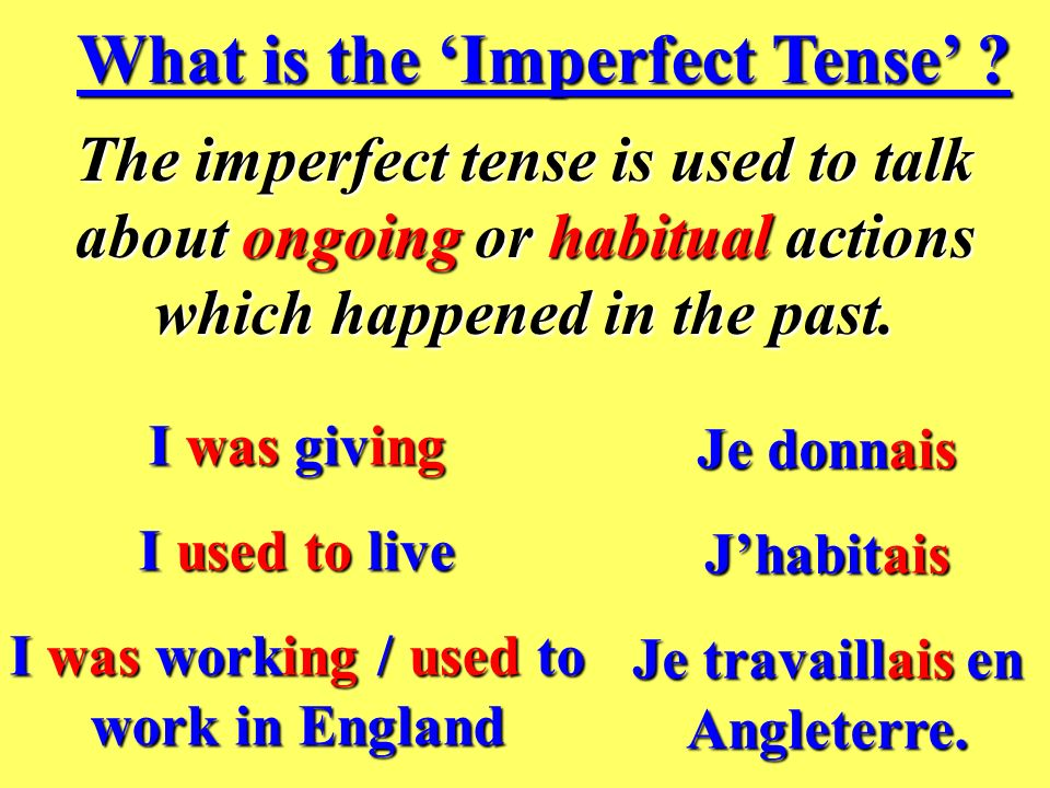 Limparfait (The Imperfect Tense)