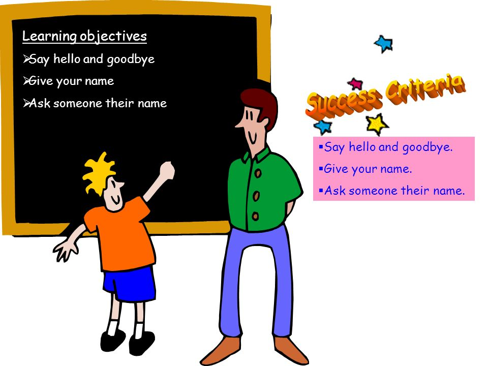 Learning objectives Say hello and goodbye Give your name Ask someone their name Say hello and goodbye.