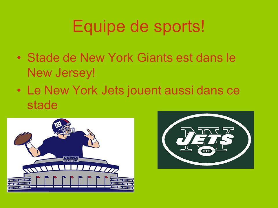 Equipe de sports. Stade de New York Giants est dans le New Jersey.