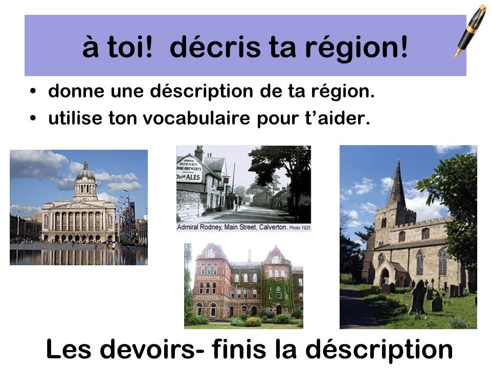 Make a mind map for each type of region and its facilities in your cahier.