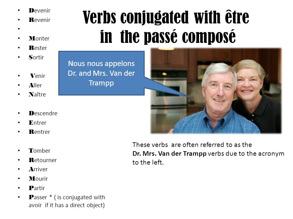 Verbs conjugated with être in the passé composé D evenir R evenir M onter R ester S ortir V enir A ller N aître D escendre E ntrer R entrer T omber R etourner A rriver M ourir P artir P asser * ( is conjugated with avoir if it has a direct object) These verbs are often referred to as the Dr.