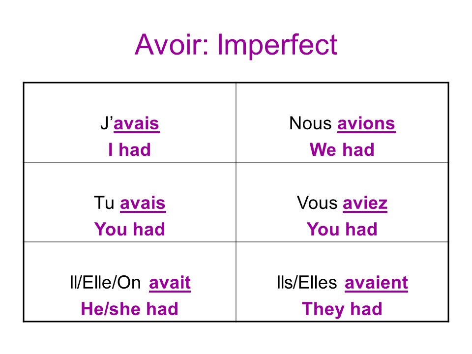 Avoir: Imperfect Javais I had Nous avions We had Tu avais You had Vous aviez You had Il/Elle/On avait He/she had Ils/Elles avaient They had