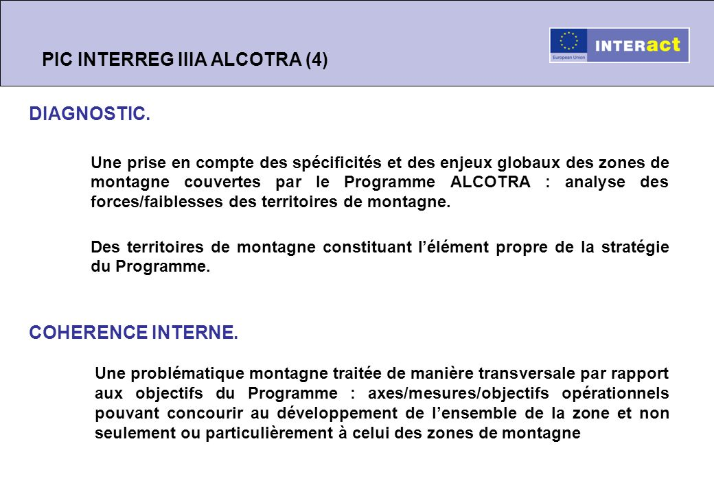 PIC INTERREG IIIA ALCOTRA (4) DIAGNOSTIC.