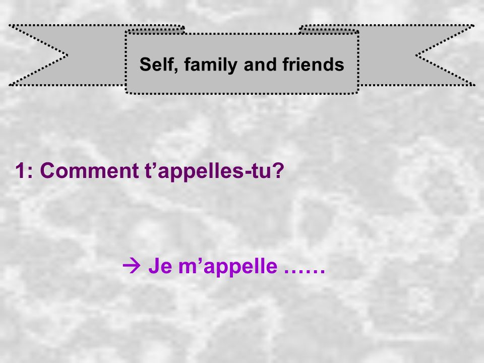 Self, family and friends 1: Comment tappelles-tu Je m appelle ……