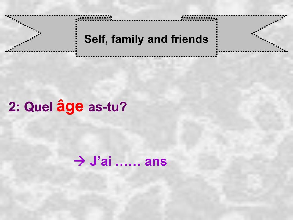 Self, family and friends 2: Quel âge as-tu J ai …… ans