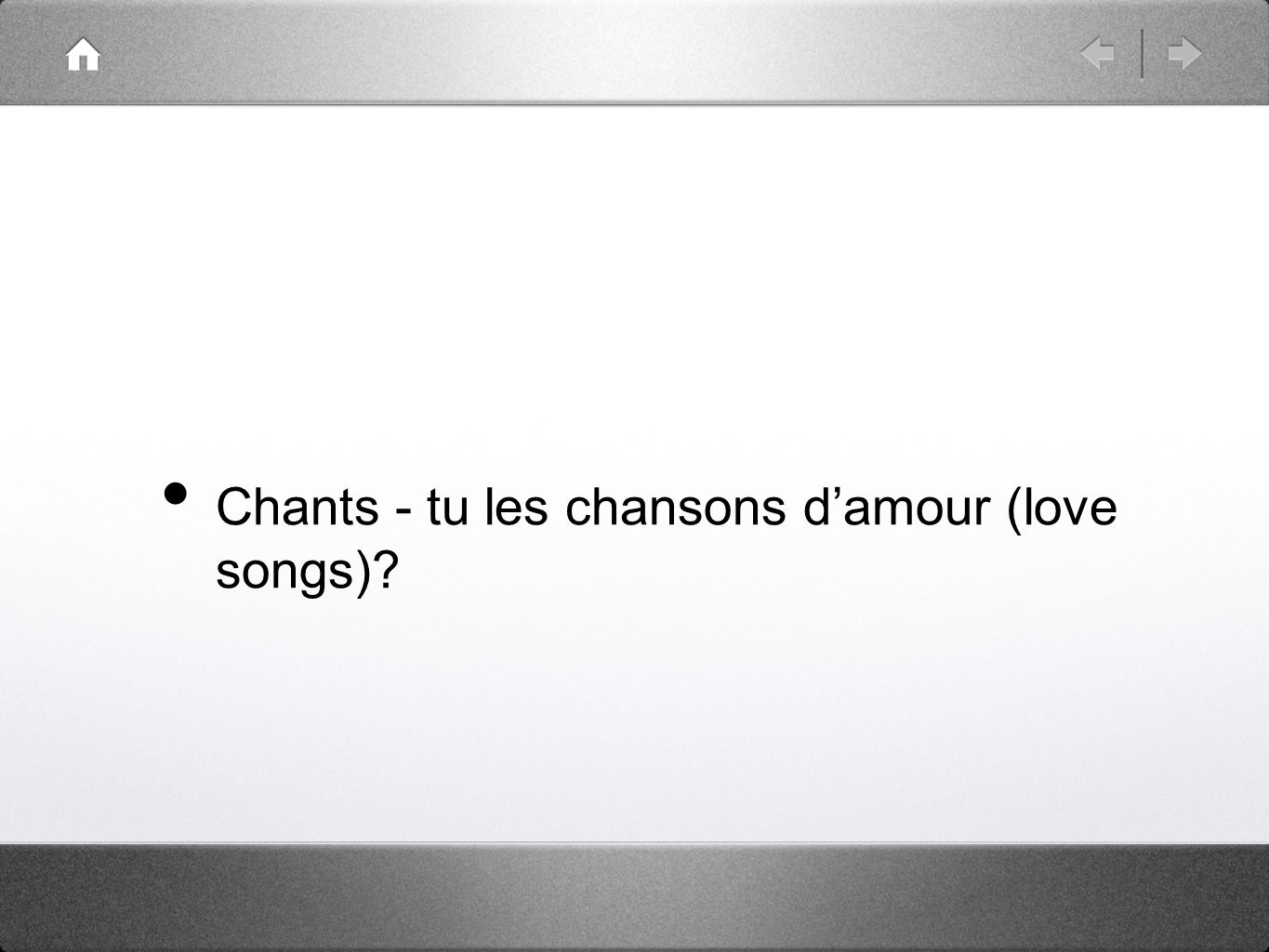 Chants - tu les chansons damour (love songs)