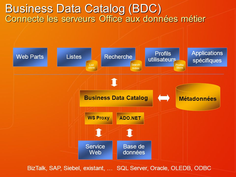 Business Data Catalog (BDC) Connecte les serveurs Office aux données métier Métadonnées Business Data Catalog Web PartsListesRecherche Profils utilisateurs Applications spécifiques Base de données WS Proxy ADO.NET Service Web SQL Server, Oracle, OLEDB, ODBCBizTalk, SAP, Siebel, existant, … List store Search Index Profile Store