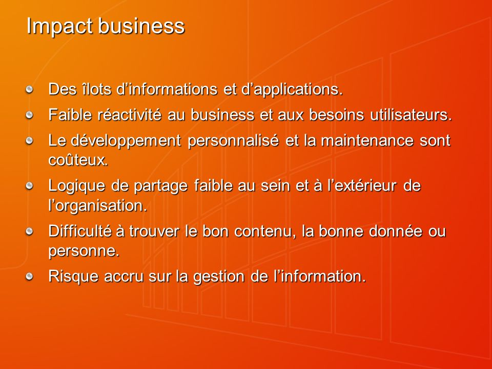 Impact business Des îlots dinformations et dapplications.