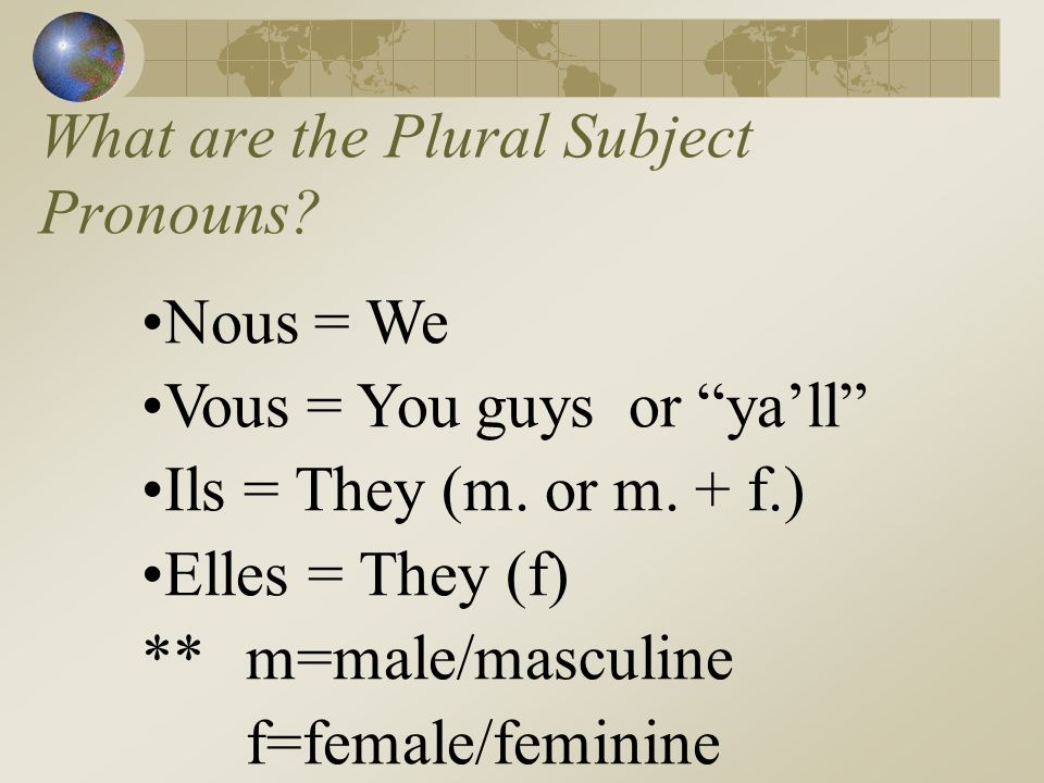 Je = I Tu = You (1 person) Il = He/It, one guys name (Pierre),one masc.