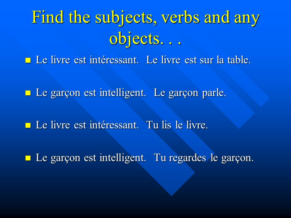 Find the subjects, verbs and any objects... Le livre est intéressant.