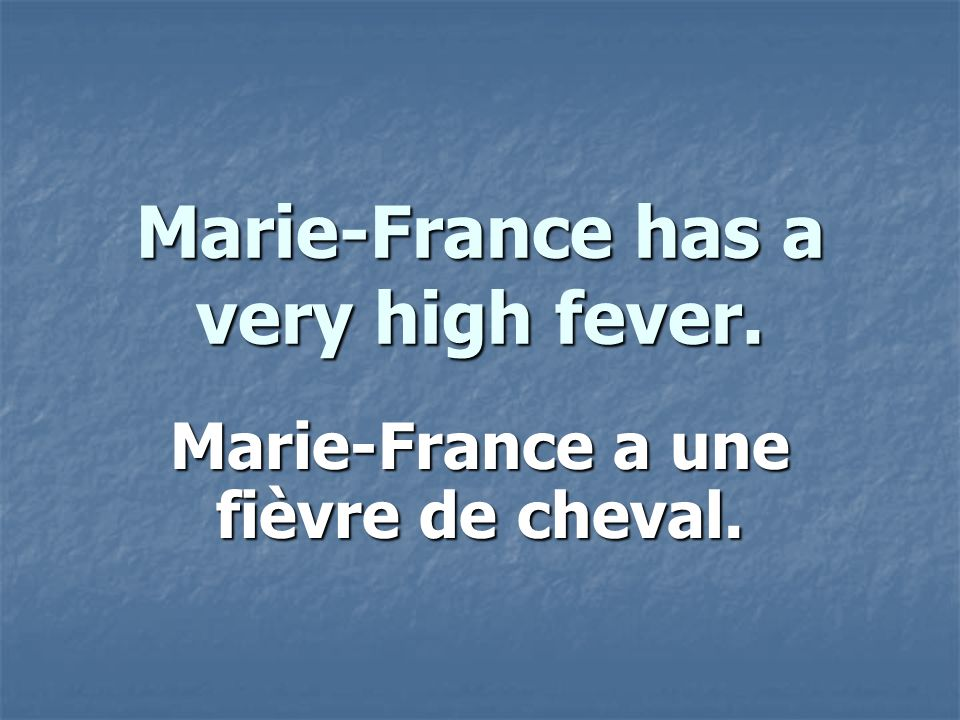 Marie-France has a very high fever. Marie-France a une fièvre de cheval.
