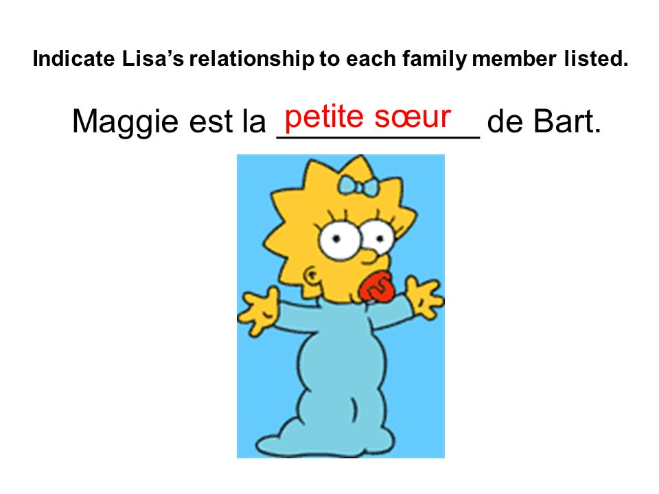 Maggie est la ___________ de Bart. Indicate Lisas relationship to each family member listed.