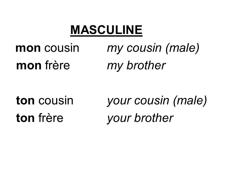 MASCULINE mon cousinmy cousin (male) mon frèremy brother ton cousinyour cousin (male) ton frèreyour brother