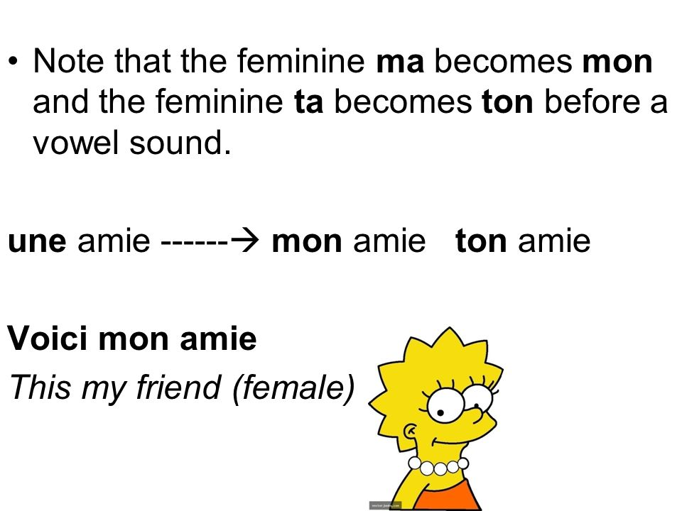 Note that the feminine ma becomes mon and the feminine ta becomes ton before a vowel sound.