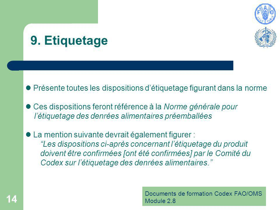 Documents de formation Codex FAO/OMS Module