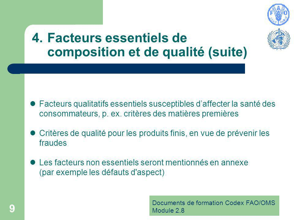 Documents de formation Codex FAO/OMS Module Facteurs essentiels de composition et de qualité (suite) Facteurs qualitatifs essentiels susceptibles daffecter la santé des consommateurs, p.