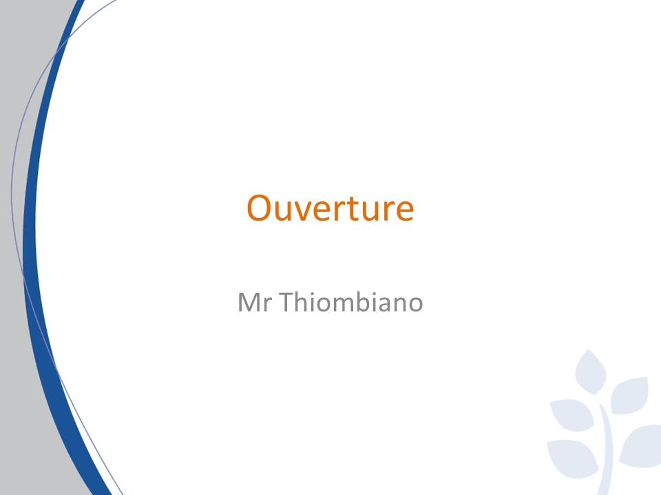 Ouverture Mr Thiombiano