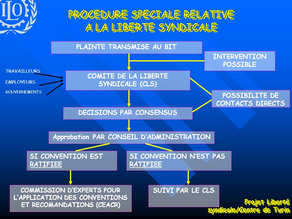 PROCEDURE SPECIALE RELATIVE A LA LIBERTE SYNDICALE COMMISSION DEXPERTS POUR LAPPLICATION DES CONVENTIONS ET RECOMANDATIONS (CEACR) SUIVI PAR LE CLS PLAINTE TRANSMISE AU BITINTERVENTION POSSIBLE POSSIBILITE DE CONTACTS DIRECTS DECISIONS PAR CONSENSUS Approbation PAR CONSEIL DADMINISTRATION SI CONVENTION EST RATIFIEE SI CONVENTION NEST PAS RATIFIEE COMITE DE LA LIBERTE SYNDICALE (CLS) TRAVAILLEURS EMPLOYEURS GOUVERNEMENTS Projet Liberté syndicale/Centre de Turin