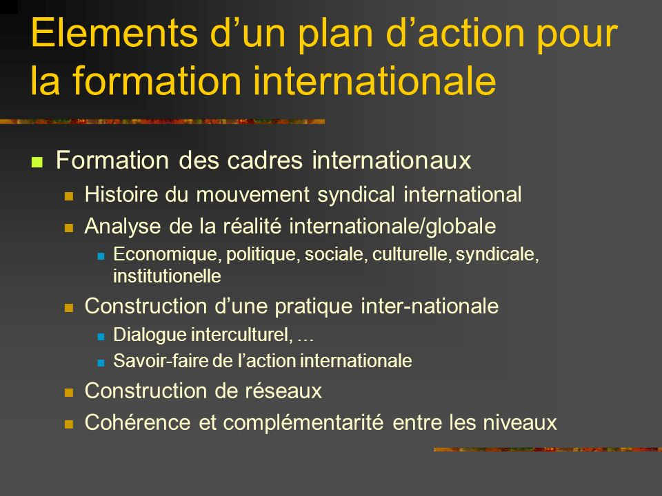 Elements dun plan daction pour la formation internationale Formation des cadres internationaux Histoire du mouvement syndical international Analyse de la réalité internationale/globale Economique, politique, sociale, culturelle, syndicale, institutionelle Construction dune pratique inter-nationale Dialogue interculturel, … Savoir-faire de laction internationale Construction de réseaux Cohérence et complémentarité entre les niveaux