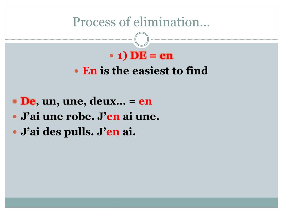 Process of elimination…
