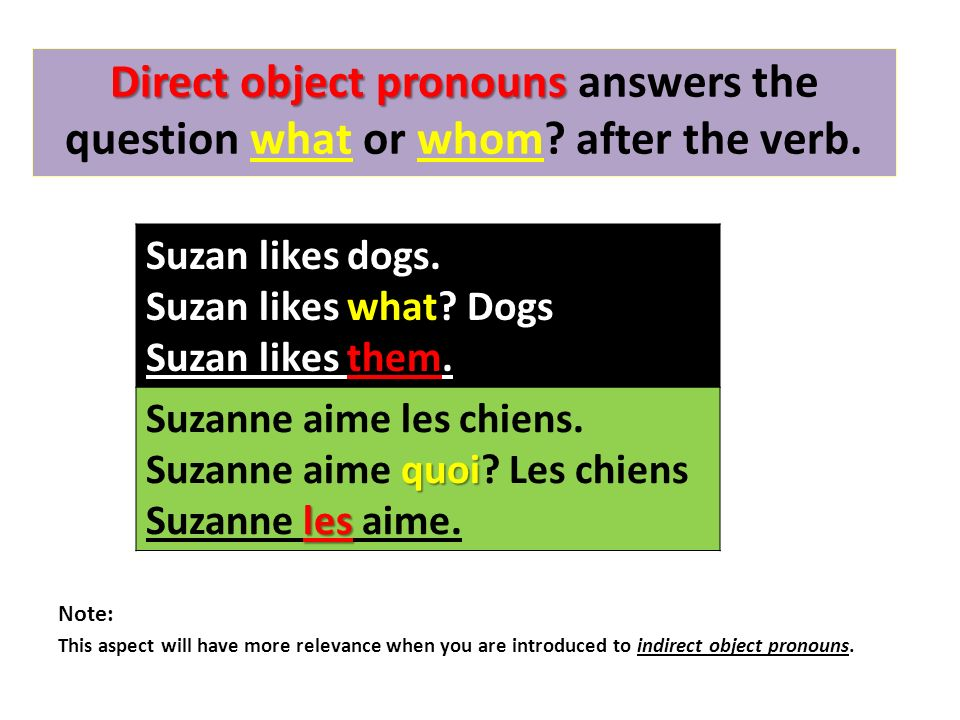 Direct object pronouns Direct object pronouns answers the question what or whom.