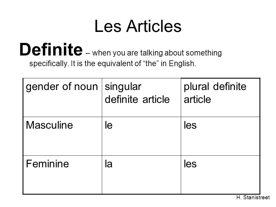 H. Stanistreet Les Articles Definite – when you are talking about something specifically.