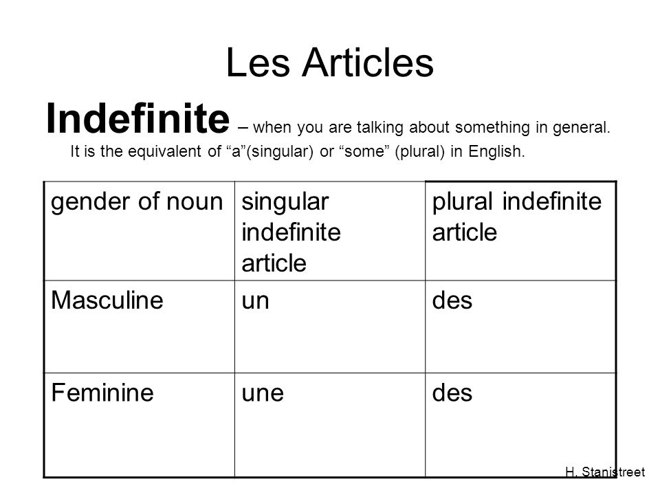 H. Stanistreet Les Articles Indefinite – when you are talking about something in general.